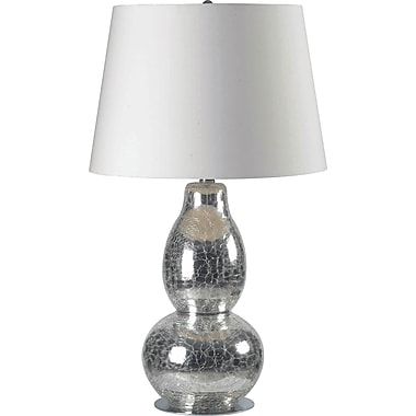 Kenroy Home Mercurio Table Lamp, Chrome Crackled Glass Finish