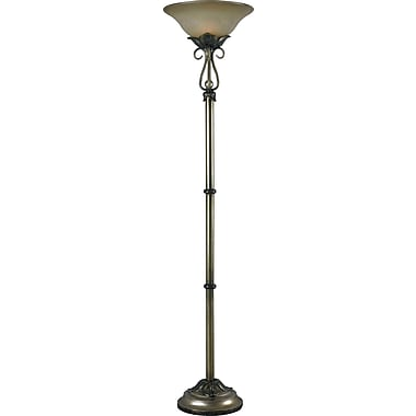 Kenroy Home Martinson Torchiere, Aged Silver Finish