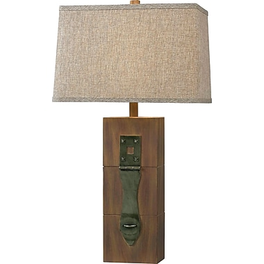 Kenroy Home Locke Table Lamp, Dark Wood Grain Finish