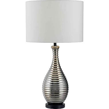 Kenroy Home Cyclone Table Lamp, Chrome Ceramic Finish