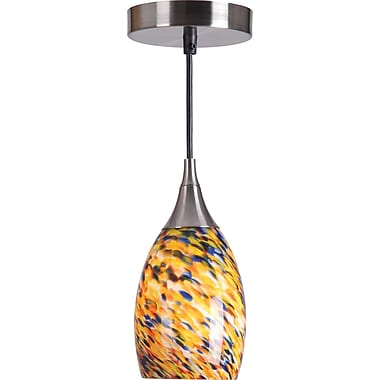 Kenroy Home Medici 1 Light Mini Pendant with Confetti Blown Glass Shade, Brushed Steel Finish