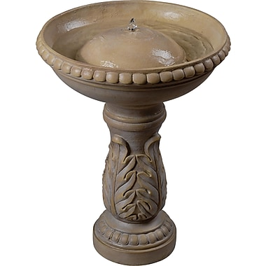 Kenroy Home Acanthus Birdbath Fountain, Sandstone Finish