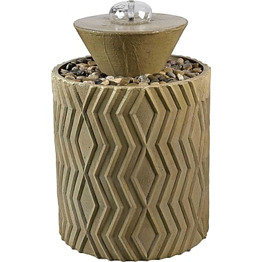 Kenroy Home Excaret Indoor/Outdoor Floor Fountain, Light Travertine Finish