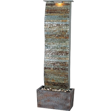 Kenroy Home Tactile Curvature Slate Floor Fountain, Natural Slate Finish