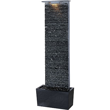 Kenroy Home Bedrock Falls Floor Fountain, Natural Grey Slate Finish