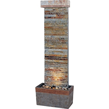 Kenroy Home Tacora Horizontal Floor Fountain, Natural Slate Finish with Copper Accents
