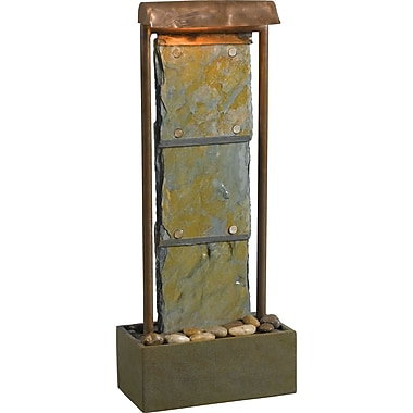 Kenroy Home Montpelier Table Fountain, Natural Slate with Copper Finish