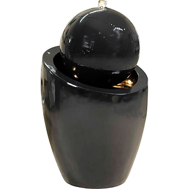 Kenroy Home Bola Indoor/Outdoor Floor Fountain, Gloss Black Finish