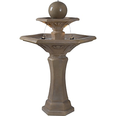 Kenroy Home Provence Outdoor Floor Fountain, Dark Travertine Finish
