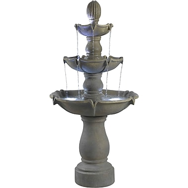 Kenroy Home Sherwood Outdoor Floor Fountain, Dusty Travertine Finish