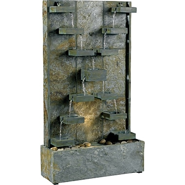 Kenroy Home Watercross Floor Fountain, Natural Green Slate Finish