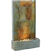 Kenroy Home Copper Vines Floor Fountain, Natural Green Slate Finish with Decorative Metal Accents