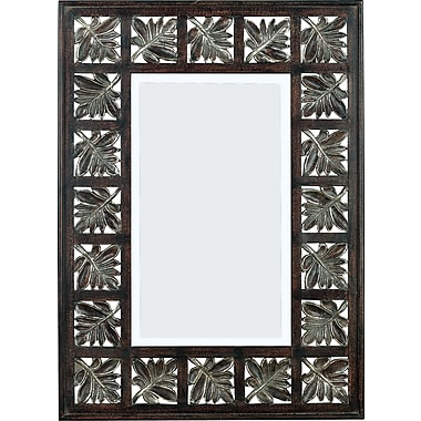 Kenroy Home Foliage Wall Mirror, Dark Walnut with Silver Accents Finish