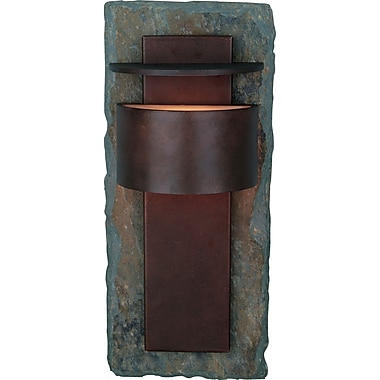 Kenroy Home Pembrooke Large Wall Lantern, Natural Slate with Copper Finish
