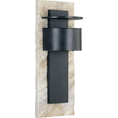 Kenroy Home Pembrooke Large Wall Lantern, Natural White Slate with Bronze Finish