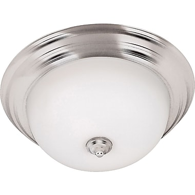Kenroy Home Triomphe 3 Light Flush Mount with Self Ballasted Bulb, Brushed Steel Finish