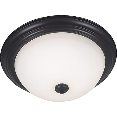 Kenroy Home Triomphe 3 Light Flush Mount with Self Ballasted Bulb, Oil Rubbed Bronze Finish