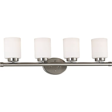 Kenroy Home Mezzanine 4 Light Vanity, Brushed Steel Finish
