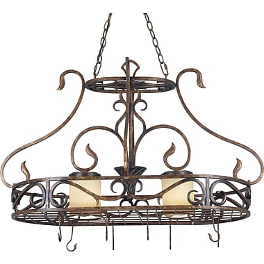Kenroy Home 2 Light Verona Pot Rack, Aged Golden Copper Finish