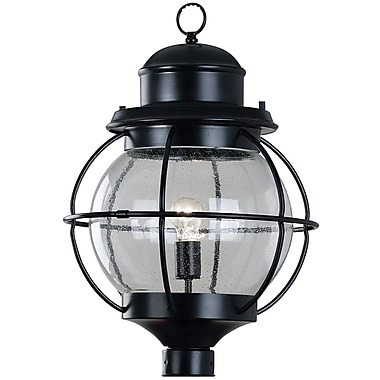 Kenroy Home Hatteras 1 Light Post Lantern, Black Finish