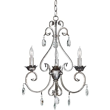 Kenroy Home Antoinette 3 Light Chandelier, Weathered Silver Finish