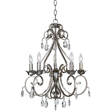 Kenroy Home Antoinette 5 Light Chandelier, Weathered Silver Finish