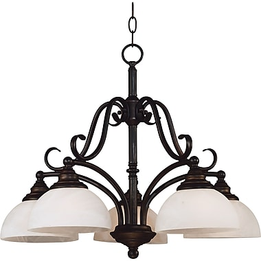 Kenroy Home Hamilton 5 Light Chandelier with Alabaster Glass Shade, Bronze Finish