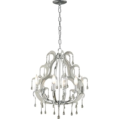 Kenroy Home Winter 6 Light Chandelier, Chrome Finish with Glass Drops