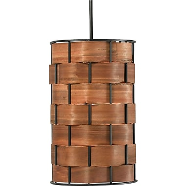 Kenroy Home Shaker 1 Light Mini Pendant, Dark Woven Wood Finish
