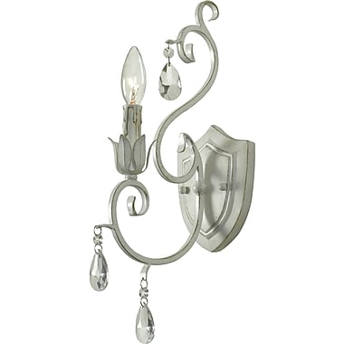 Kenroy Home Chamberlain 1 Light Wall Sconce, Weathered White Finish