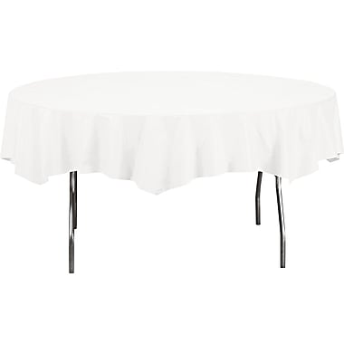 Creative Converting™ 923272 Table Cover, White, 82in.(Dia)