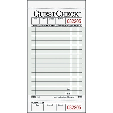 National Checking Company GuestChecks™ A3632 Guest Check Board, 15 Line, 2500/Case