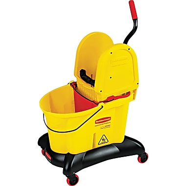 Rubbermaid® WaveBrake® 7677 Molded Plastic Dual Water Down Press Combo, Yellow, 35 qt.