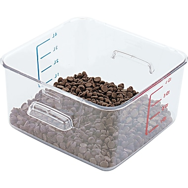 Rubbermaid® 6304 Square Container, 4 qt, 8 3/4in.(L) x 4 3/4in.(H) x 8.8in.(W), Clear
