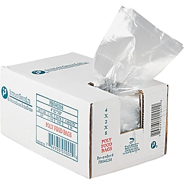 Integrated Bagging Systems Food Utility Poly Bag, 8in. L x 4in. W