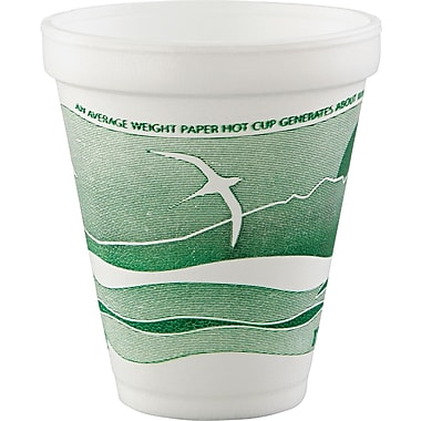 Horizon® Foam Cup, White/Green, 12 oz