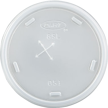 Dart® 8SL Straw Slotted Cup Lid, 8 - 9 oz., Translucent, 1000/Carton