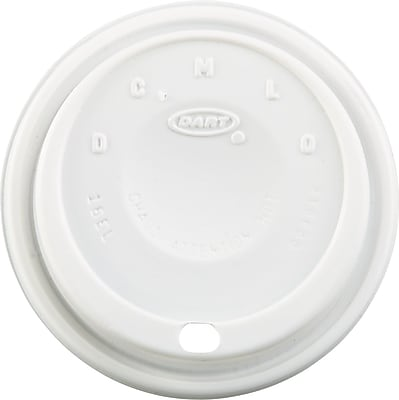 Dart  Cappuccino Dome Sipper Lid, White, for 12 - 24 oz Foam Cups, 1,000/Pack 655107