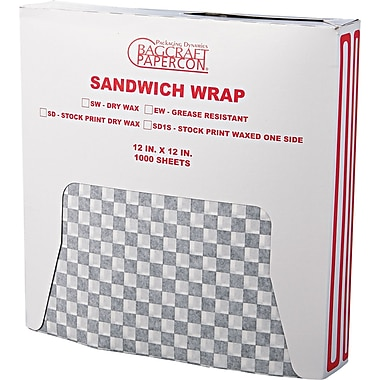 Bagcraft Papercon® Black Checker Print, Grease-resistant Paper Wrap/Liner, 12in. L x 12in. W