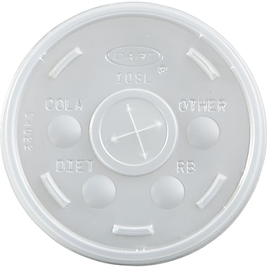 Dart® Plastic Cold Cup Lid, Translucent, for 10 oz Foam Cups