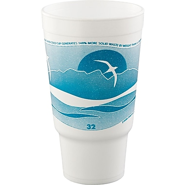 Horizon® Foam Cup, White/Teal, 32 oz