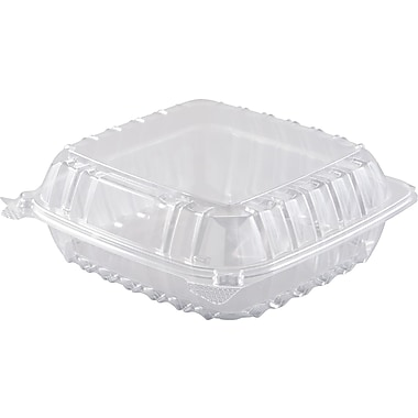 Dart ClearSeal® Hinged Lid Container, 8 2/7in. L x 8 2/7in. W x 3in. H