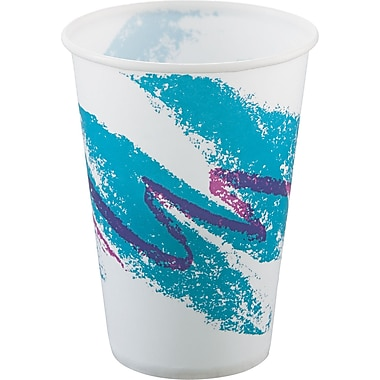 SOLO® Treated Paper Cup, White/Green/Purple, 10 oz
