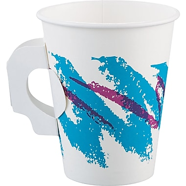 SOLO® Single-sided Hot Cup with Handle, White/Green/Purple, 8 oz, 50/Pack