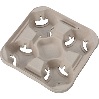 Chinet® StrongHolder® 8 to 32 oz Molded Fiber 4-cup Tray, 1 3/4in. H x 8 1/2in. W x 8 1/2in. D