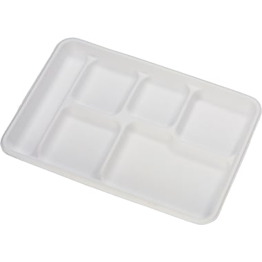 Chinet® Heavy-weight Molded Fiber 6-compartment Cafe Tray, 12 1/2in. W x 8 1/2in. D