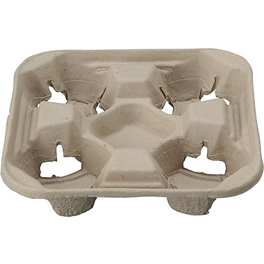 Chinet® StrongHolder® 8 to 22 oz Molded Fiber 4-cup Tray, 1 3/4in. H x 8 1/2in. W x 8 1/2in. D