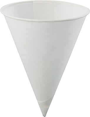 Poly-Bag Rolled-Rim Paper Cone Cups in White KCI40KBR