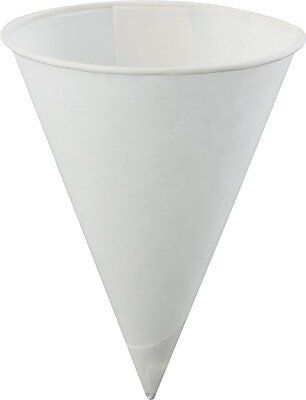 Konie Poly-bag Rolled-rim Paper Cone Cup, White, 4 oz KCI40KBR