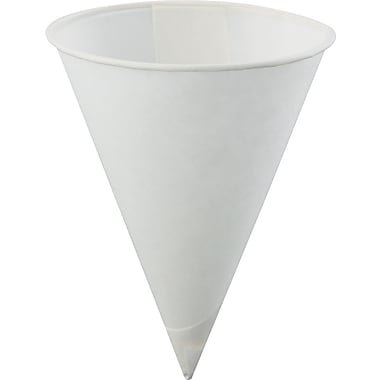 Konie® Poly-bag Rolled-rim Paper Cone Cup, White, 4 oz